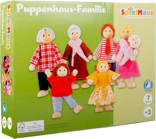 SpielMaus Holz Puppenhaus Familie