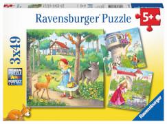 Ravensburger 08051 Puzzle: Rapunzel, Rotkäppchen & Froschkönig, 3x49 Teile